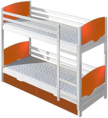 Kinderbett   Etagenbett Milo 31 inkl. 2 Schubladen, Farbe  Weiß  Orange Sonne, teilmassiv, Liegefl e  80 x 190cm   (B x L), teilbar