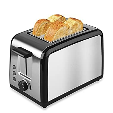 Toaster 2 Slice Stainless Steel By TOBOX, Top Rated Toasters 2 Slice Best Rated Prime Premium Brushed Defrost Reheat with Cancel Buttons