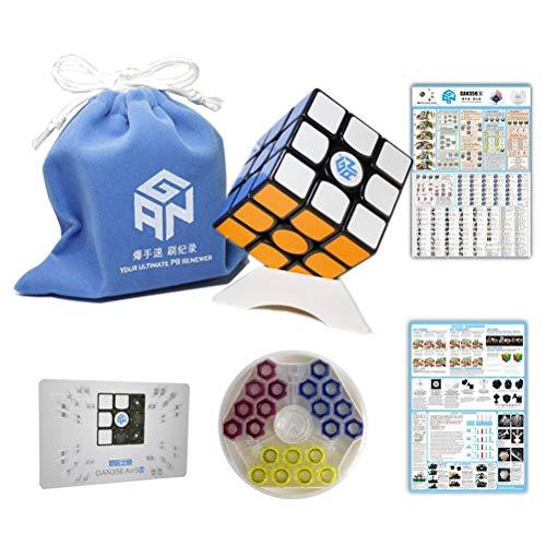 FunnyGoo Ganspuzzle Gan 356 Air SM 3x3 Cubo Professionale a velocità cubi magici + Un Supporto cubo e Una Borsa cubo ( Nero )