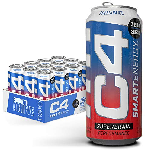 C4 Smart Energy Sugar Free Energy Drink 16oz (Pack of 12) | Freedom Ice | Performance Fuel & Nootropic Brain Booster with No Artificial Colors or Dyes