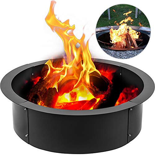KITGARN 45 Inch Fire Pit Pan Fireplace Ring Solid Steel Heavy Duty Fire Pit Ring/Liner for Fireplace Campfire Pit Ground for Outdoor Camping
