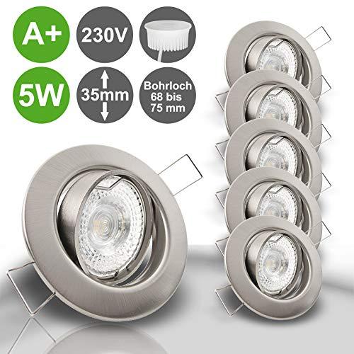 DECORA Decken Einbauleuchten extra flach 35 mm 230V 5x 400 Lumen LED 5,0W = 50W Neutralweiss schwenkbar EDELSTAHL OPTIK gebürstet Spot Leuchtmittel austauschbar