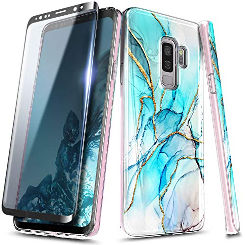 E-Began Marble Case for Samsung Galaxy S9 Plus with Soft Screen Protector (3D Curved Full Coverage), Ultra Slim Thin Glossy Stylish, Gold Glitter, Soft TPU Rubber Gel Phone Case Cover -Glacier