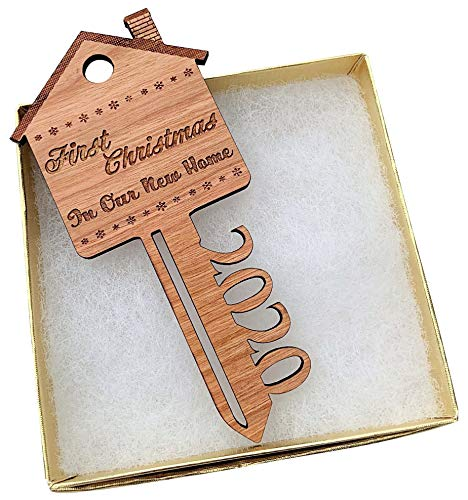 2020 First Christmas in Our New Home Wooden Key Shape Ornament - with Gift Box and String (Non-Personalized)