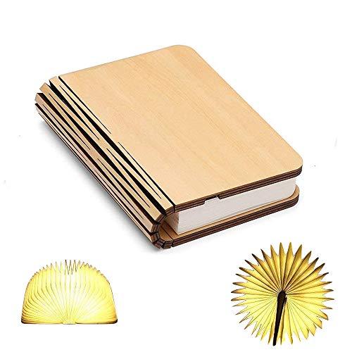 Holz Buch Lampe, Mini Folding Buch Licht magnetische USB wiederaufladbare 880mAh Lithium-Batterien LED Schreibtisch Tischlampe für Dekor, Jubiläum warmes Weiß