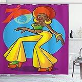 Aliyz 70s fête Rideau de Douche Danser dans la Mode Disco Mode américaine Femme Souriant Visage Art approprié pour Salle de...