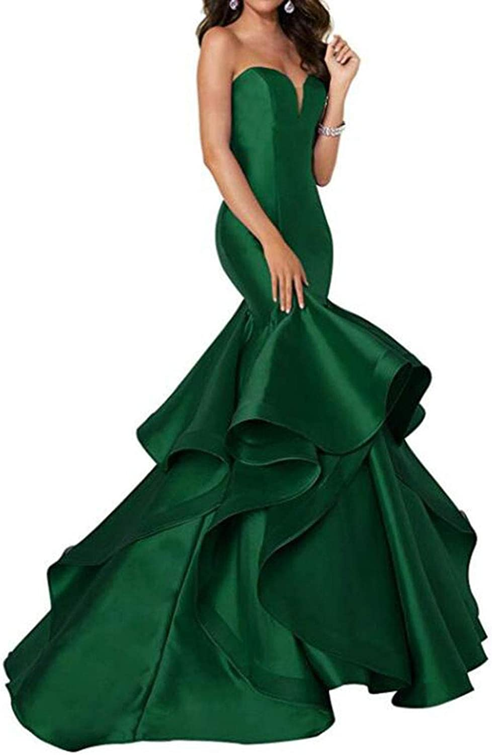 Alilith.Z Sexy Sweetheart Prom Dresses Mermaid Tired Satin Train Formal Evening Dresses Party Gowns for Women 2019