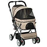 PawHut Pet Stroller Foldable Dog/Cat Travel Carriage with Reversible Handle EVA Wheels Brakes Basket Storage Bag 3-Stage Canopy Zippered Mesh Window Door Brown 27.5' L x 20' W x 37' H
