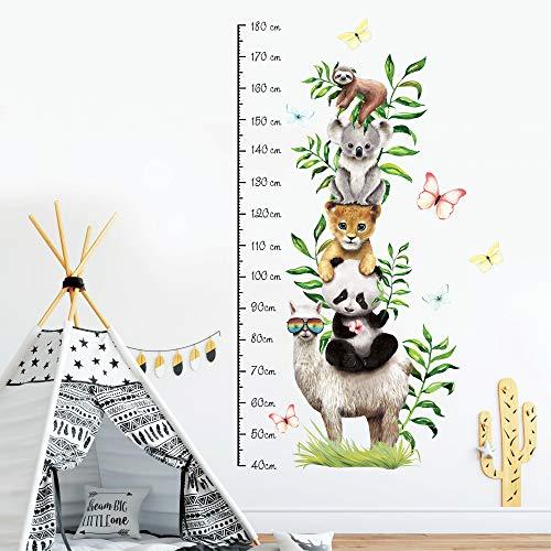 Wandtattoo Kinderzimmer Messlatte Exotik Tiere Größe messen Kinder Babyzimmer