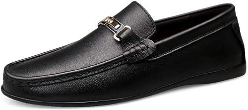 EGS-schuhe EGS-schuhe EGS-schuhe Für Männer Stiefel Mokassins Slip On Style OX Leder Mode Metaldecor Delicate Cortex Driving Loafer,Grille Schuhe (Farbe   Schwarz Größe   47 EU)  100% versandkostenfrei