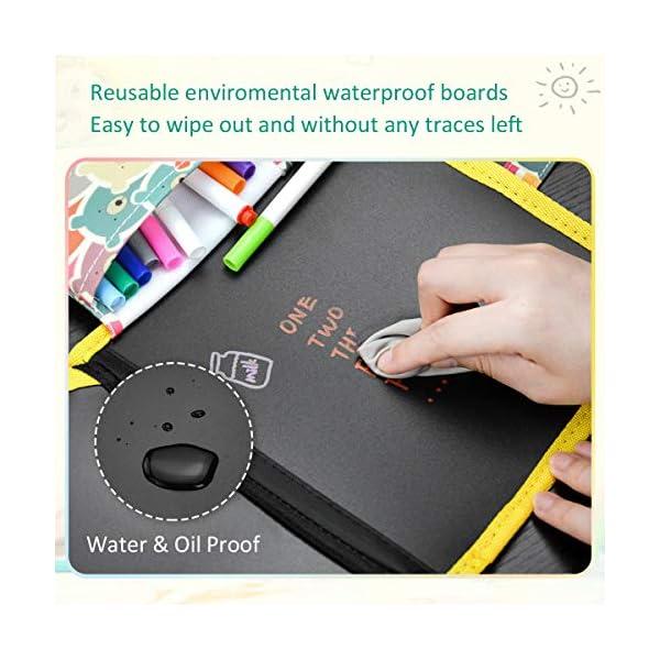 POOPHUNS Tabla de Dibujo Portátil para Niños, Tablero de Dibujo de Graffiti, Innovadora Pizarra para Dibujar Durante Viajes o en Casa, Libros Blandos de Pizarra para Escribir y Dibujar de 14 páginas