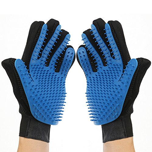Pet Grooming Gloves - Deshedding Brush Gloves - Pet Hair Remover + Massage Mitt - Perfect for Dogs and Cats with Long and Short Furs - 259 Longer Tips Version - 1 Pair (Left + Right)