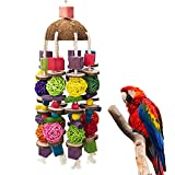 EBaokuup Large Bird Parrot Toys, Multicolored Wooden Blocks Bird Chewing Toy Parrot Cage Bite Toy for Macaws Cokatoos African Grey and Large Medium Parrot Birds
