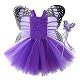 iixpin Vestido Princesa Niñas Sin Mangas de Fiesta Carnaval Holloween Disfraz de Elfos con Alas Mariposa Bonita Traje de Hadas para Cumpleaños Cosplay Morado 5-6 años