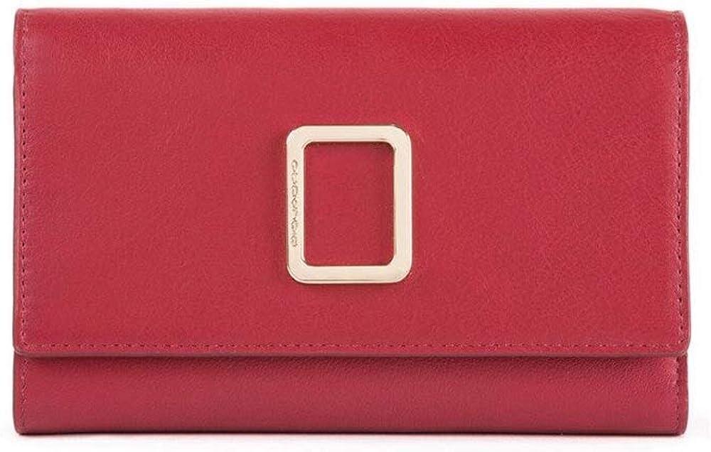 Piquadro portafoglio in pelle per donna grande con porta carte di credito e protezione anti-frode rfid PD4152FMR-ROSSO