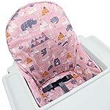 IKEA Antilop - Fundas de asiento de algodón para silla alta por ZARPMA, superficie de algodón y acolchado de algodón, diseño de bosque plegable para silla de bebé (rosa)
