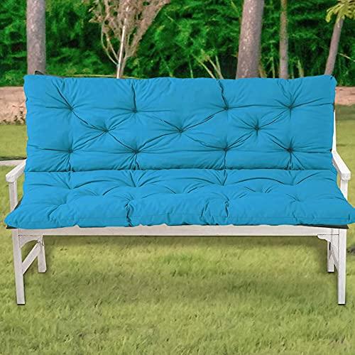 ZJHTK Cojín de asiento de banco de muebles de patio para interiores y exteriores, con respaldo, cojín de banco rectangular, no incluye bancos, color azul