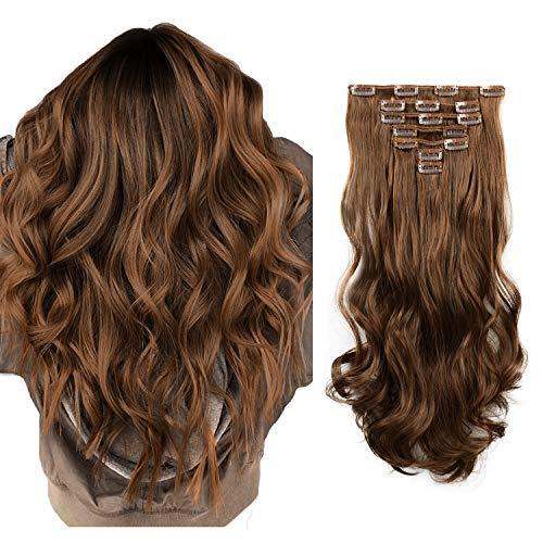 FESHFEN 7 Teile Set Clip in Extensions, 50cm Haarverlängerung Clips Haarteil Extensions Clip in Gewellt für Mädchen, Dunkelbraun & Auburn Braun