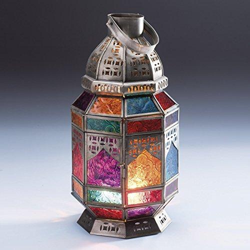 Indian Arts Große, achteckige Laterne mit bunt-gemustertem Glas im marokkanischen Stil