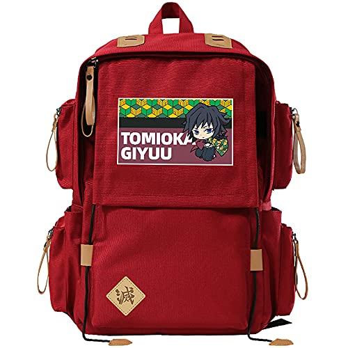 Cos Prop School bag anime cartoon estudiante mochila hombres y mujeres bolsa de computadora para Demon Slayer, anime bolsa para Tomioka Giyuuo, anime fans colección regalos