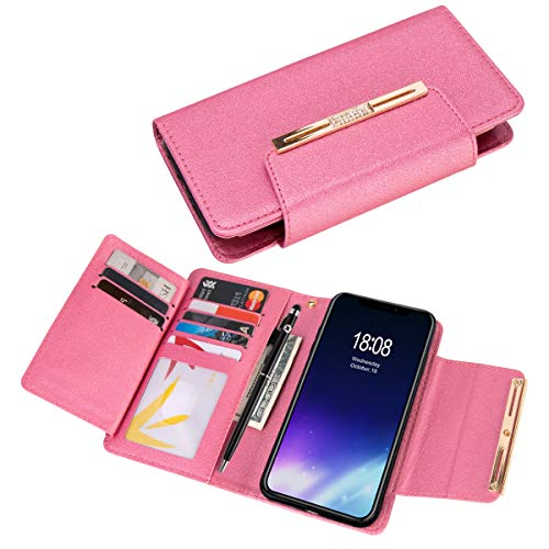Wallet Case for iPhone Xs Max, xhorizon FLK [Upgraded] 2 in 1 Premium Bling Leather Wallet Crystal Button Closure Magnetic Car Mount Phone Holder Compatible Folio Case for Apple iPhone Xs Max
