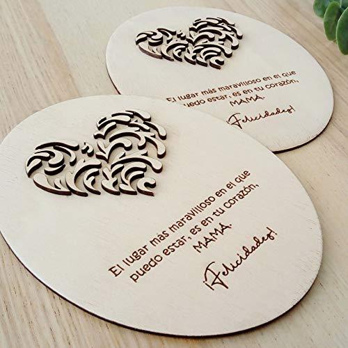 Tarjeta para regalar en el día de la Madre, Tarjeta especial de cumpleaños para mamá, Tarjeta de felicitación de madera 3D con hermoso corazón en relieve, el mejor regalo para el día de la mad