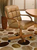 Casual Rolling Caster Dining Chair with Swivel Tilt in Oak Wood with Bonded Leather Seat and Back (Set of 2) (Oak Wood With Bonded Leather)