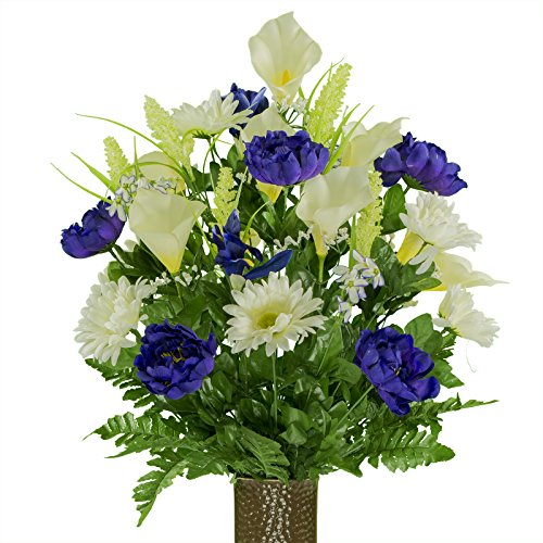Ruby's Silk Flowers Cream Purple Peony Daisy Mix, Featuring The Stay-in-The-Vase Design(C) Flower Holder (LG1947)
