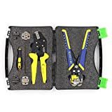Roeam Wire Cutters Professional Wire Crimpers Multifunctional Engineering Ratcheting Terminal Crimping Pliers Wire Strippers Bootlace Ferrule Crimper Tool Cord End Terminals Pliers Kit