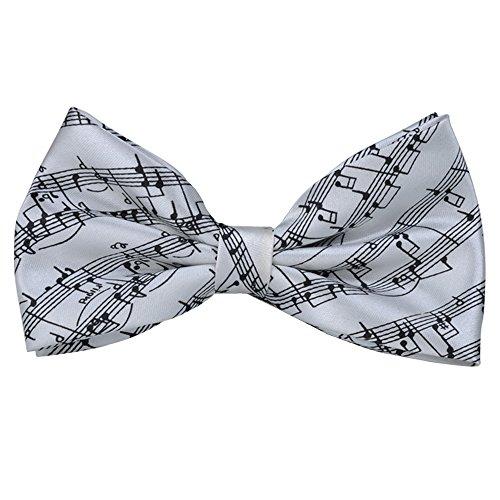 Pajarita de notas musicales prepreanudada, estilo 6 colores, regalo de cumpleaos, ocasiones formales divertidas (blanco -pajarita)
