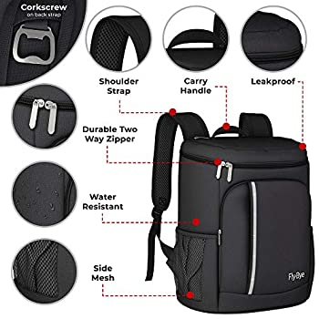 Large Capacity 30L Cool Bag Picnic Backpack - Insulated Lightweight Waterproof Lunch Cooler Bags for Camping Picnic Hiking by Fly-Bye (Black)