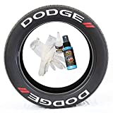 Tire Stickers Dodge // Tire Lettering Kit - Genuine USA Made DIY Permanent Tire Lettering with Glue & 2oz Touch-Up Cleaner / 19-21 Inch Wheels / 1.25 Inches/White / 8 Pack