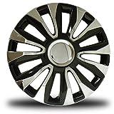RTX, ABS hubcaps, Black & Chrome, 15'', Set of Four, Plastic Clips 80-1285