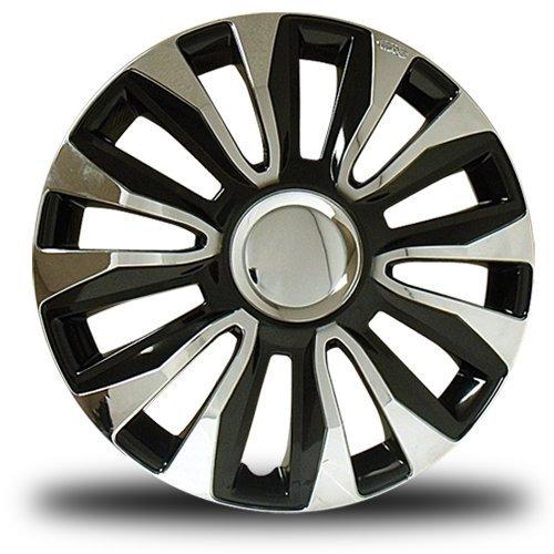RTX, ABS hubcaps, Black & Chrome, 14  , Set of Four, Plastic Clips 80-1284