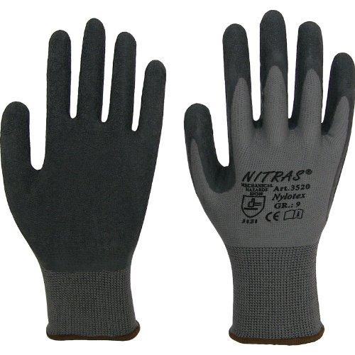 36 Paar NITRAS Nylotex 3520 Latexbeschichtung schwarz, Grip, Gr.: 10