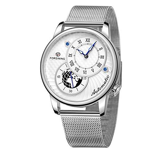 Flytise Reloj mecánico automático para Hombre, Esfera con números Romanos, Puntero Brillante en la Espalda Transparente, 30 m, Relojes de Moda s Impermeables, Pulsera Masculina para la