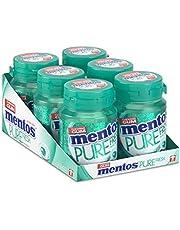 Mentos Gum Pure Fresh Wintergreen, munt smaak met groene thee extract. suikervrije kauwgom – verpakking van 6 potjes met 30 kauwgoms, voor een frisse adem