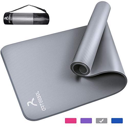 arteesol Yogamatte Non-Slip NBR Material Gymnastikmatte 185cm * 80cm * 1/1,5cm Fitnessmatte für Yoga Pilates Fitness Workout & Gymnastik Trainingsmatte (Silber, 185x80x1cm)