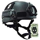 ATAIRSOFT PJ Type Tactical Airsoft Paintball MICH 2002 Helmet with Side Rail & NVG Mount Black