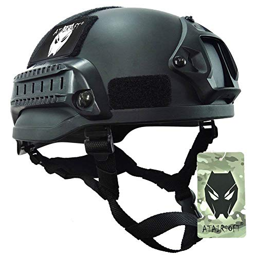 ATAIRSOFT Mich 2002 Kampf Schutz Helm mit Side Rail & NVG Berg schwarz für Airsoft Taktisch Militär Paintball Jagd