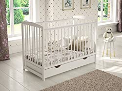 Made from the sturdy natural pine wood. Converts to the toddler bed by using included wooden barrier. Three mattress base positions provide easier and safer access to the baby. Large covered drawer on runners (not the cheap version on the plastic whe...