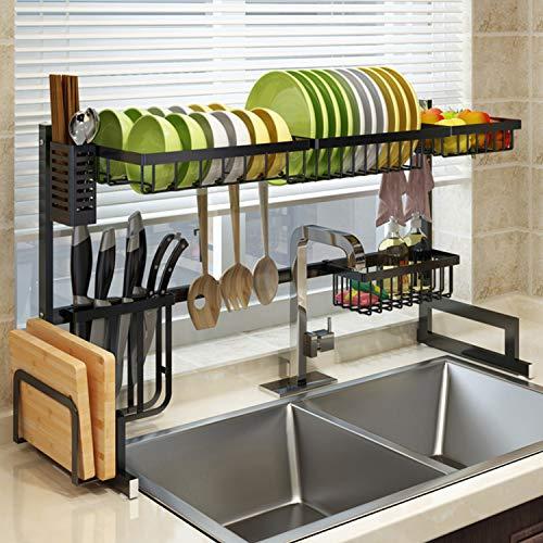 Estante de secado para fregadero, organizador de suministros de cocina de acero inoxidable, ahorro de espacio, longitud ajustable de 33 a 40 pulgadas, L, negro