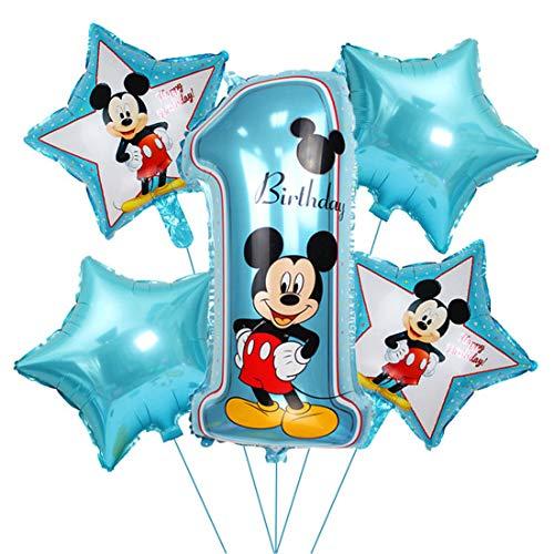 Decorazioni di Compleanno di Topolino Blu, Palloncino di Topolino Birthday Foil Balloon Palloncini con Foglio 1 per Feste Tema di Compleanno Baby Shower Decorazioni