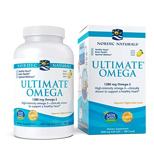 nordic naturals fish oils Nordic Naturals Ultimate Omega, Lemon Flavor - 1280 mg Omega-3-180 Soft Gels - High-Potency Omega-3 Fish Oil with EPA & DHA - Promotes Brain & Heart Health - Non-GMO - 90 Servings
