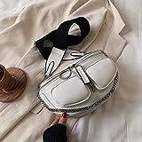 Mdsfe Bolsos Cruzados de cinturón Ancho de Hombro para Mujer Bolsos de Hombro de diseñador de Cadena 2020 Bolsos Bolso de Mano de diseño de Color sólido - Blanco, 26cmx15cmx7cm