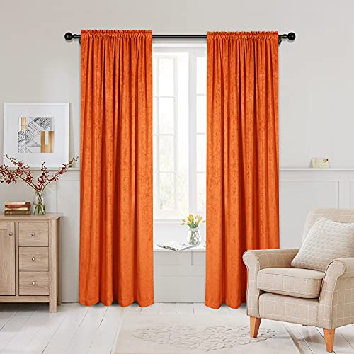 """Double-Sided Chenille Curtains for Living Room Orange Window Treatment for Bedroom Curtain,Rod Pocket, 2 Panels(Orange, 52"""" W x 96"""" L)"""