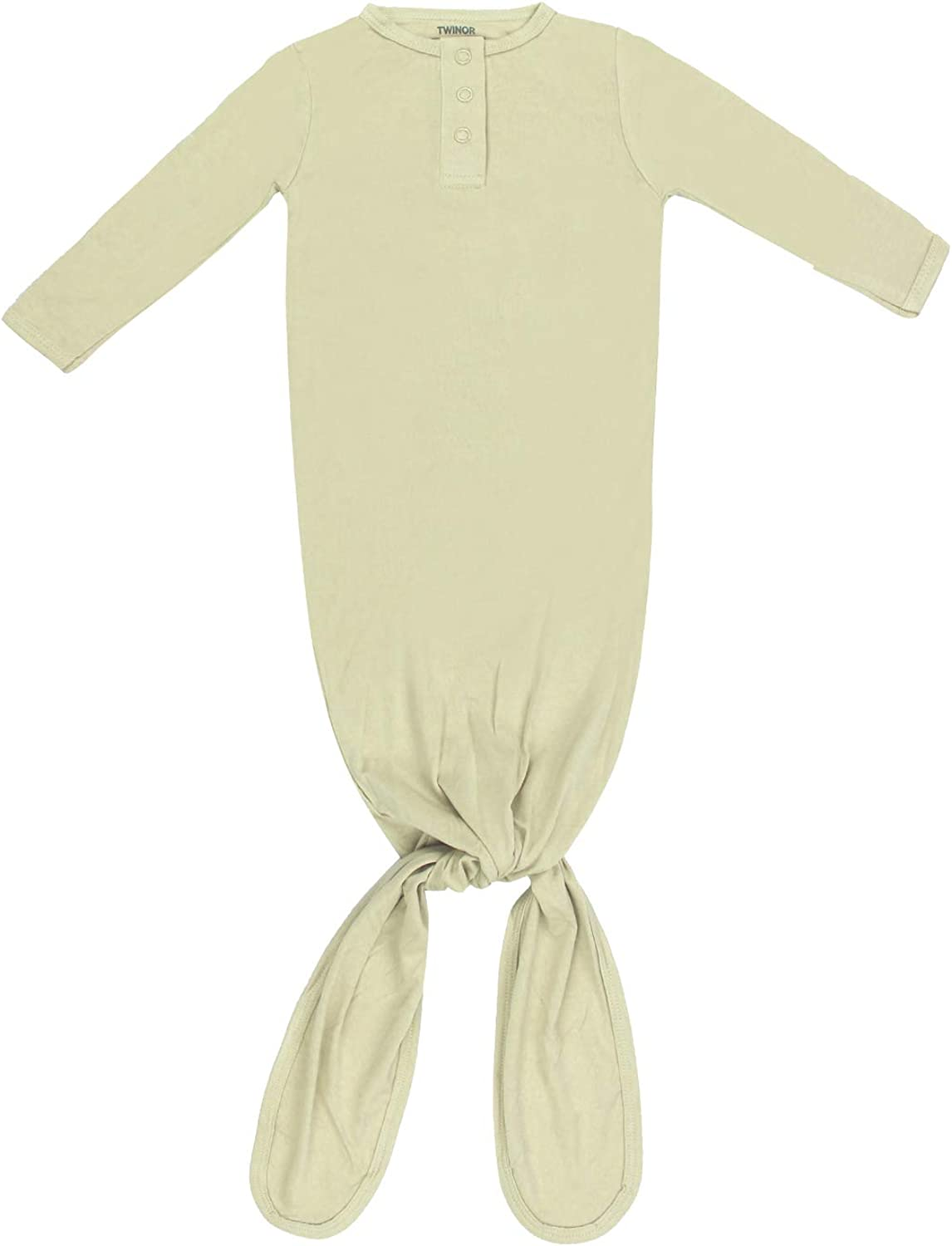 TWINOR Knotted Baby Gown Long Sleeve Baby Sleeping Bags Super Soft Bamboo Nightgowns
