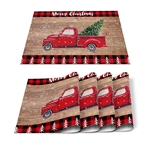 Placemats for Dining Table Set of 4 Merry Christmas Red Truck Pull Xmas Tree on Retro Wooden Board Cotton Linen Table Mats Non-Slip Washable Placemats For Holiday Parties, Wedding, Events