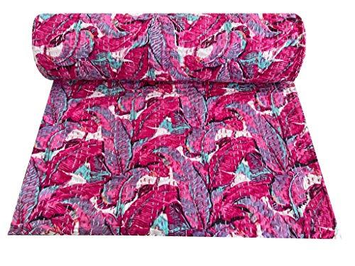 Indian-Shoppers Colcha bohemia de algodón con estampado floral, color rosa, colcha india, decoración de ropa de cama Kantha