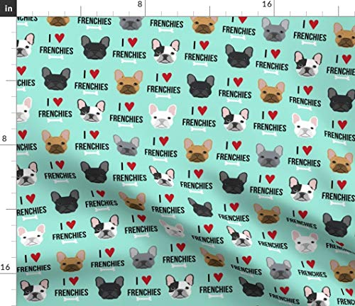 Spoonflower Fabric - Frenchie, Dog, Love, French Bulldogs, Aqua, Bulldog, Pet Printed on Petal Signature Cotton Fabric by The Yard - Sewing Quilting Apparel Crafts Decor